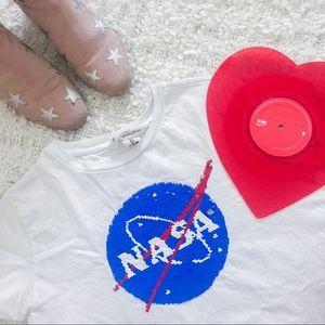 H&M REVERSIBLE SEQUIN NASA TEE SHIRT